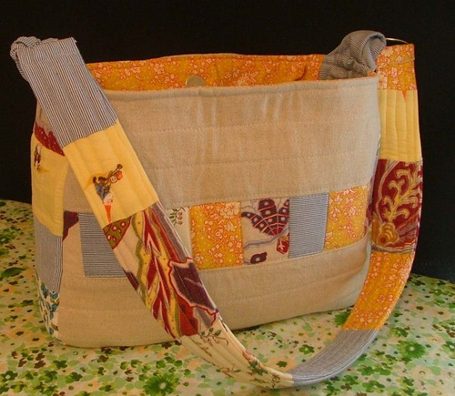 Linen Patchwork Tote with wide patchwork handle